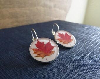 Autumn Earrings / Fall Earrings / Leaf Earrings / Red Leaf Earrings / Autumn Leaf Earrings / Resin Earrings / Silver Earrings