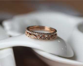 14K Yellow/White/Rose Gold Diamond Band Set/ Anniversary Ring/Half Eternity Band Set/Diamonds Wedding Band Set /Rose Gold Wedding Band Set