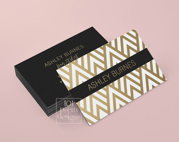 Golden Business Card Template Art Deco Business Card Design Gold - Custom business card template
