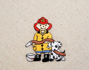 Fire Boy - Dalmatian Dog - Firehose - Fireman - Iron on Applique - Embroidered Patch -  696537A
