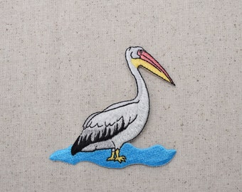Pelican in Water - Bird - Iron on Applique - Embroidered Patch - 695871-A