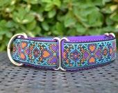 "Martingale Dog Collar - 1 1/2"" Purple and Orange Hearts and Clovers Adjustable Martingale Dog Collar with Purple Nylon Webbing"