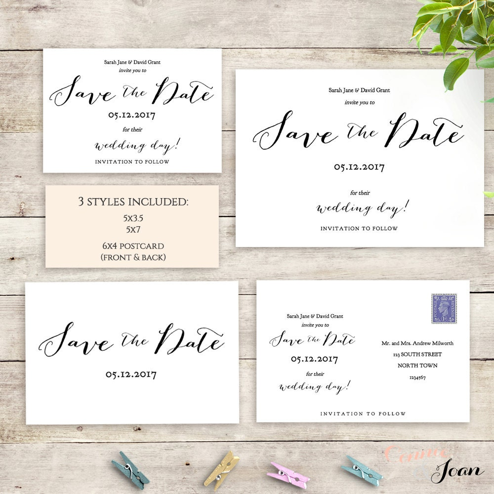 Postcard save the date template 6x4 printable save the for 6x4 postcard template