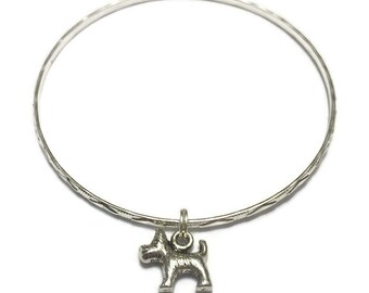 Schnauzer Charm Bracelet - Schnauzer Charm Bangle - Dog Bangle - Dog Charm Bracelet - Silver Jewelry - Stacking Bangles - Dog Bracelet