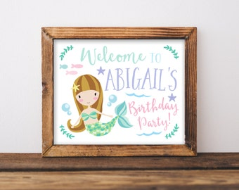 Mermaid Birthday Party Welcome Sign Printable, Brunette Girl, Blonde, Under the Sea, Swimming Pool Party, Mermaids, Swim, Party Printables