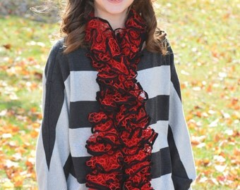 Red and Black Knitted Scarf