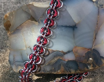 Gunmetal and Red Choker/Chainmaille/Back To Work Weave