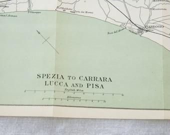 1898 Italian Riviera, La Spezia, Carrara, Lucca, & Pisa Antique Map