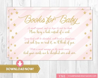 Twinkle Twinkle Little Star Book Request Card • Baby Shower Book Request Card Printable Instant Download • BS-T-01