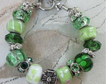 Green with Envy, charm bracelet, european style bracelet