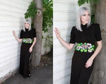 Vintage 1930s Dress / Art Deco Dress / Backless Dress / Late 30s Beaded Dress