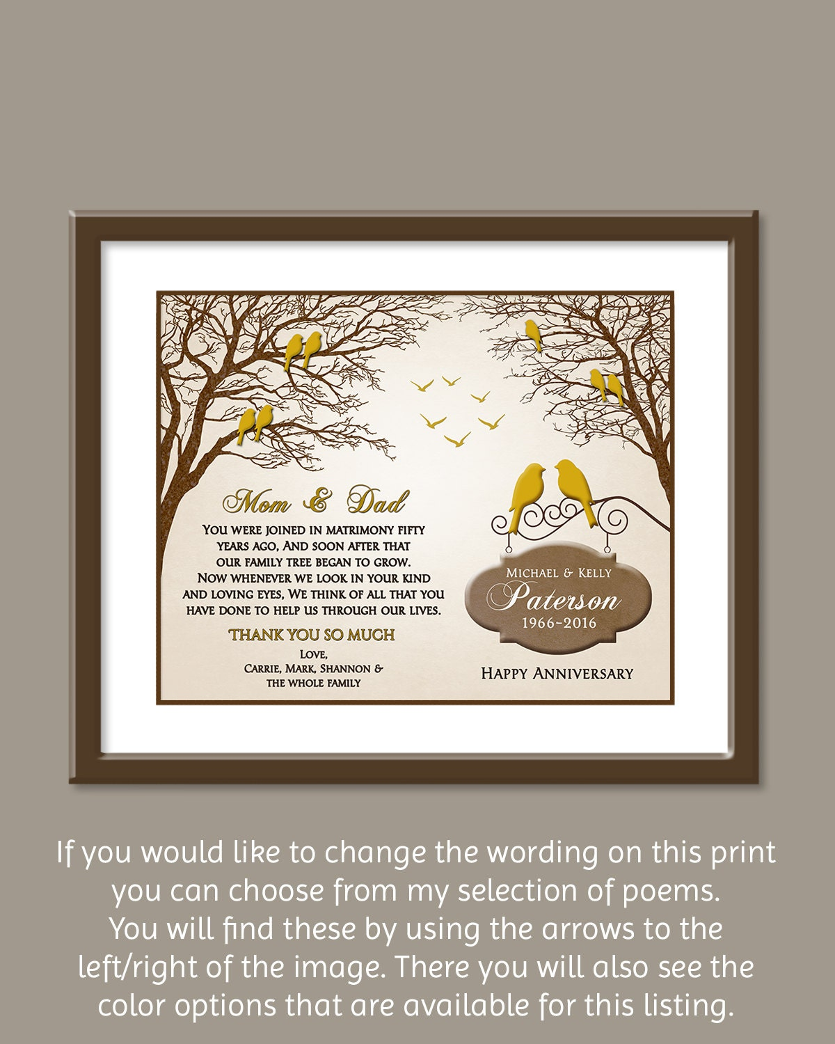 50th wedding anniversary gift golden wedding anniversary for Present for 50th wedding anniversary