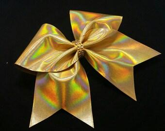 Holographic cheer bow, Cheer bows, Gold cheer bow, Cheerleading bow, Cheerleader bow, Dance bow, Softball bow, Cheer bow, large hair bow