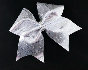 Silver cheer bow, Cheer bow, sequin cheer bow, cheerleading bow, cheerleader bow, cheer bows, softball bow, large cheer bow, dance bow, bow
