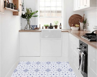 Tile Decals - Tiles for Kitchen/Bathroom Back splash - Floor decals - Hand Painted Italian Chiave Vinyl Tile Sticker Pack color Indigo Blue