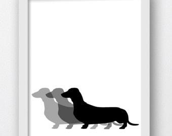 Dachshund Prints, Dachshund Pictures, Dachshund Dog Print, Dachshund Dog Wall Art, Dachshund Silhouette Print, Dachshund Silhouette