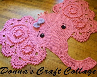 Crochet Elephant Rug - Elephant  rug - Elephant Nursery Rug - Baby decor - photo prop - pink elephant
