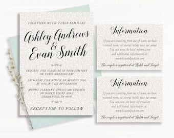 Lace Wedding Invitations - Printable - Wedding Invitation - Digital (9)