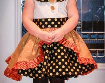 Girls, Black, Gold Dress, Toddler, Christmas Dress, Holiday, Party, Wedding, Dance, Picture, Photo Shoot, Handmade, Boutique, Layers, Ruffle