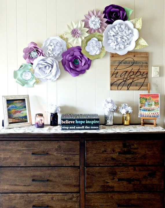 paper flower wall decor purple gold teal green by itheedecor. Black Bedroom Furniture Sets. Home Design Ideas