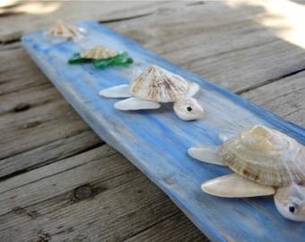 Sea Glass Turtles, Sea Shell Turtles, Miniature Turtles, Turtle Figurines, Nautical Home Decor, Turtle Art, Turtle Figurine,