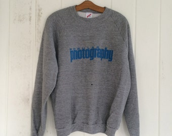 Vintage 80s Popular Photography Sweatshirt / Gray with Blue Print / Cotton Polyester Blend / Adult Size Extra Large / Made in the USA