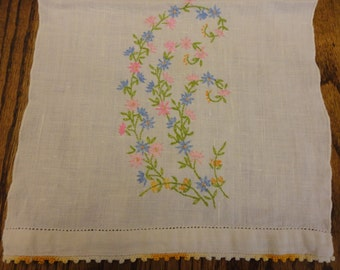 Vintage Tea Towel with sprig of flowers