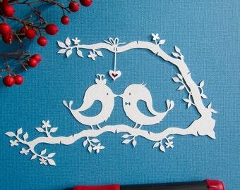 Perruche,inséparables,papier découpé,Lovebird,Lovebirds,papier découpé,découpage