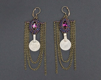 Coin tribal fusion earrings, embroidered seed beads earrings, purple cabochon earrings, bronze small chains, long earrings