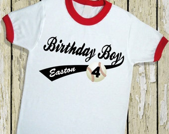 Baseball Birthday Boy Ringer Tee. Baseball Birthday Shirt. Baseball Jersey [Softball Birthday Girl Tee, Softball Birthday Shirt] (32043)