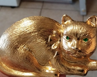 Vintage 1980s Dotty Smith Goldtone  Cat Belt Buckle