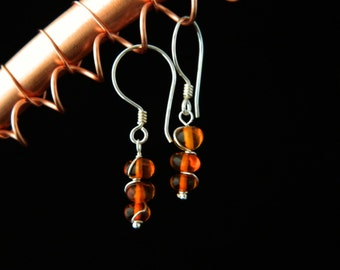 Cognac Amber Earrings ~ Sterling Silver ~ Baltic Amber ~ Genuine Amber Jewellery ~ 925 Silver ~ Amber Earrings ~ Genuine Gemstones