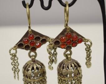 Earrings Middle East Silver Kuchi Bell Red Blue Glass Handmade Jewelry Belly Dancing Unique Kuchi Bell Earrings