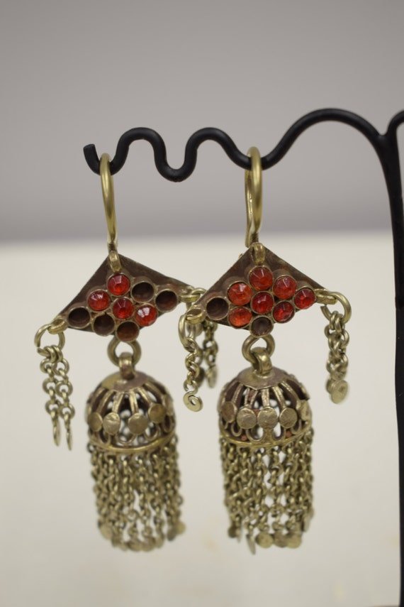 Earrings Middle East Silver Kuchi Bell Red Blue Glass Handmade Jewelry Belly Dancing Unique Kuchi Bell Earrings