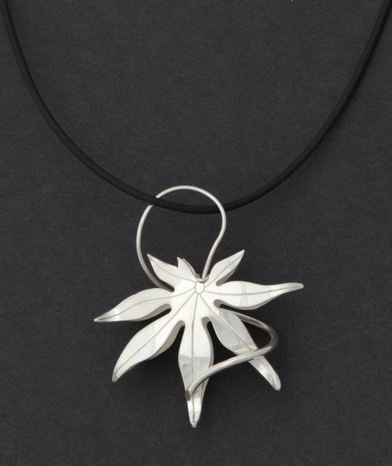 Pendant Sterling Silver Japanese Maple Leaf Necklace Robyn Nichols Artist Handmade Sterling Silver Museum Unique Beautiful Statement