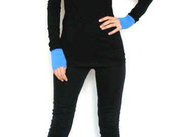 Elegant Colour Block Long sleeved T-shirt/Fitted Black Top/Black Top/Designer Tee/Extra Long Sleeve Black Tee