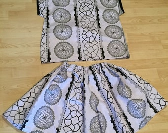 Black and White Cotton Wax Print Crop Top and Flared Shorts Set - Small