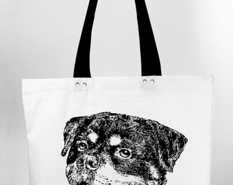 Rottweiler - hand screen printed cotton canvas tote bag