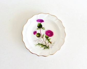 Thistle Small Plate / Wine Coaster by Duchess with Gold Gilt Trim, Purple Thistle, Green Leaves ~ Birthday Gift / Best Friend Gift / For Mom
