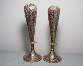 Pair of Antique Kashmir Enamel Copper Bud Vases, Islamic Art, Kashmiri Enamel, Islamic Metalwork Vases, Indian Antiques, Kashmiri Antiques