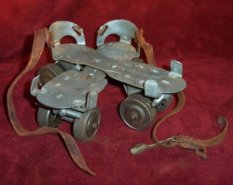 Vintage Metal Roller Skates, Adjustable with KEY and Leather Straps, by Brunswick Union, Torrington Ct.