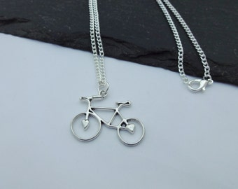 Bicycle Necklace, Bike Necklace, Silver Plated Chain, Charm Necklace, Cyclist Gift, Bike Gift, Bike Jewellery, Chain Necklace, Cyclist