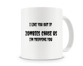 Zombie Chase us Mug~The Walking Dead~Zombie gift~Zombie fan~Rick Grimes mug~Daryl Dixon Mug~Fear~work out~Humor~Running~Ceramic Mug~Walkers
