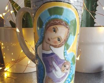 Madonna and Child Hand Painted Mug