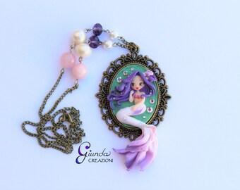 Purple mermaid necklace, handmade, polymer clay