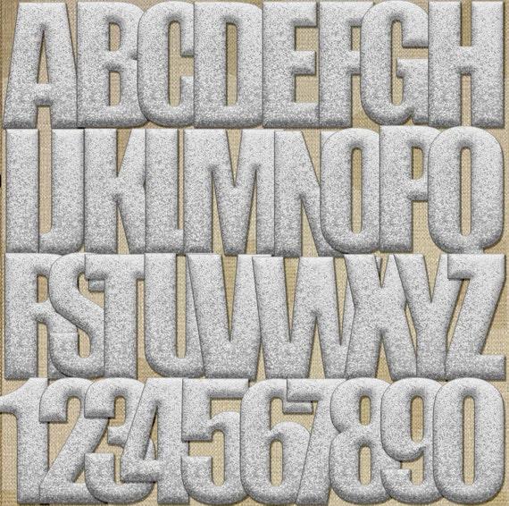 3d silver glitter alphabet digital by melaniebrittdigitals