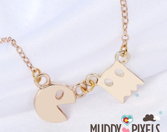 Cute and tiny Gold PacMan Necklace