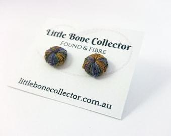 "Purple & Orange ""Desert Sunset"" crochet button earrings, Surgical steel studs - Glue free"