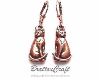 Copper Cat Earrings -  Copper Sitting Cat Earrings - Copper Cat Earrings - Cat Jewelry - Cat Charms