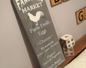 Farmers Market - Wooden Sign - Rustic Decor - Country Decor - Wood Sign